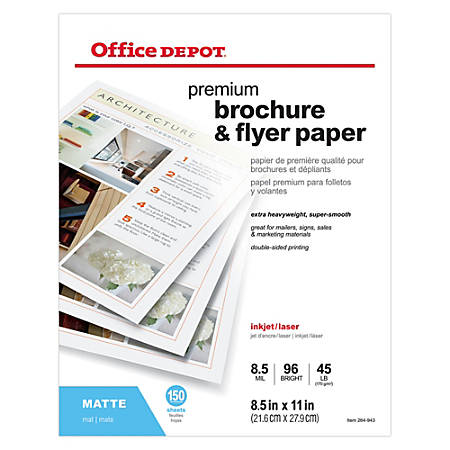 "Office Depot® Brand Professional Brochure And Flyer Paper, Matte, 8 1/2"" x 11"", 45 Lb, Pack Of 150 Sheets"