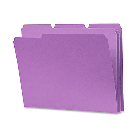 Smead® 1/3-Cut Color Top-Tab File Folders, Letter Size, Lavender, Box Of 100
