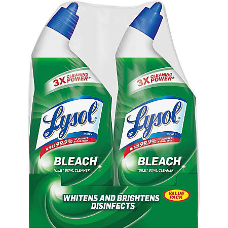 Lysol® Toilet Bowl Cleaner With Bleach, 24 Oz, Blue, Pack Of 2
