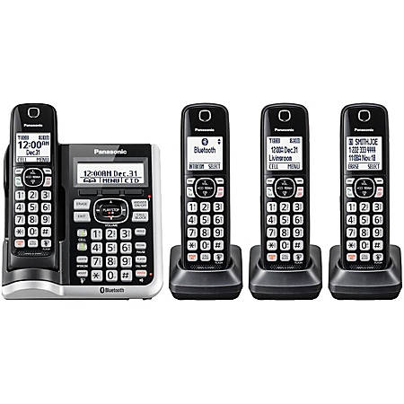 Panasonic® Link2Cell DECT 6.0 Cordless Telephone With Answering Machine And Dual Keypad, 4 Handsets, KX-TGF574S