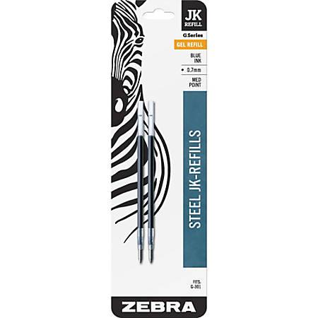 Zebra® G-301 JK Gel Stainless Steel Pen Refills, 0.7 mm, Blue Ink, Pack Of 2