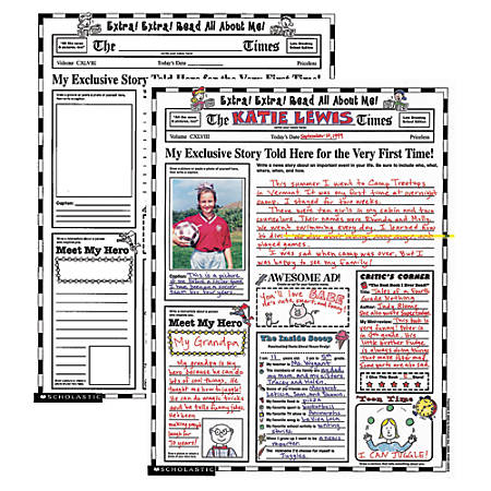 Scholastic Instant Personal Posters — Extra, Extra Read All About Me!