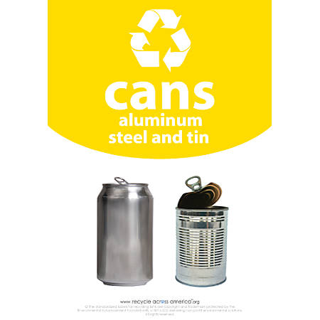 """Recycle Across America Aluminum, METAL-1007, Steel And Tin Cans Standardized Recycling Labels, 10"""" x 7"""", Yellow"""