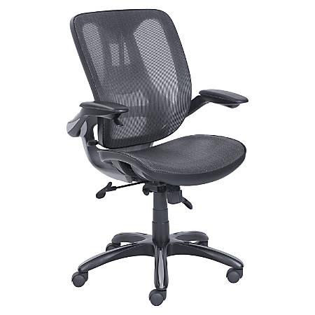 Lorell® Mesh Task Chair, Flip Up Arms, Black