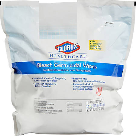 Clorox Healthcare Bleach Germicidal Wipes Refill - Ready-To-Use Wipe - 110 - 2 / Carton - White