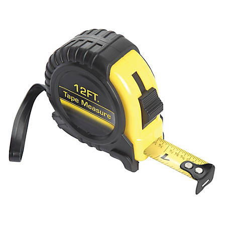 Global Hardlines® Measuring Tape, 12', Black/Yellow