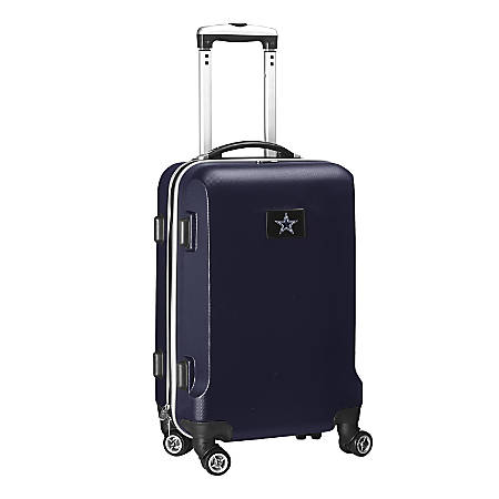 """Denco 2-In-1 Hard Case Rolling Carry-On Luggage, 21""""H x 13""""W x 9""""D, Dallas Cowboys, Navy"""