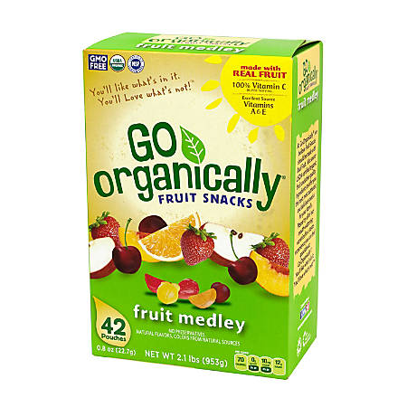 Go Organically Fruit Medley Fruit Snacks, Pack Of 42 Pouches