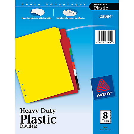 """Avery® Heavy Duty Plastic Dividers With White Tab Labels, 8 1/2"""" x 11"""", 30% Recycled, Multicolor, 8-Tab"""
