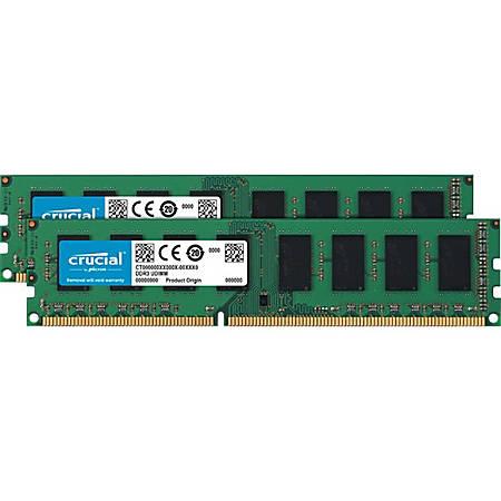 Crucial 16GB (2 x 8 GB) DDR3L SDRAM Memory Module - For Desktop PC - 16 GB (2 x 8 GB) - DDR3L-1600/PC3-12800 DDR3L SDRAM - CL11 - 1.50 V - Unbuffered - 240-pin - DIMM