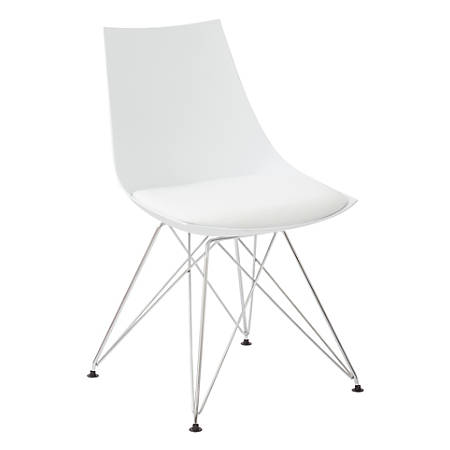 Ave Six Eiffel Bistro Chairs, White/Chrome, Pack Of 2