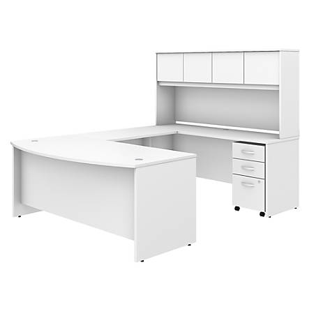 "Bush Business Furniture Studio C U Shaped Desk with Hutch and Mobile File Cabinet, 72""W x 36""D, White, Premium Installation"