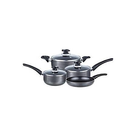 "Brentwood Cookware 7-Piece Aluminum Non-Stick Gray - 2 quart Saucepan, 3 quart Saucepan, 3 quart Dutch Oven, 5 quart Dutch Oven, 9.50"" Diameter Frying Pan - Tempered Glass, Aluminum - Dishwasher Safe"