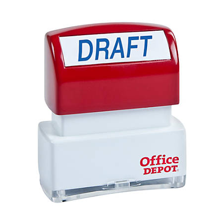 """Office Depot® Brand Pre-Inked Message Stamp, """"Draft"""", Blue"""