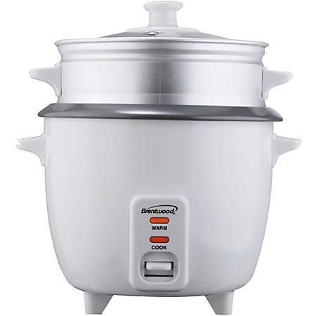 Brentwood 5-Cup Rice Cooker With Steamer, White