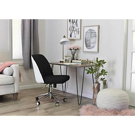 Elle Décor Maia Mid-Back Task Chair, Charcoal/White/Chrome