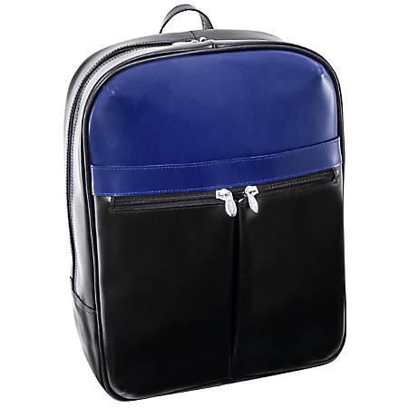 McKleinUSA Edison L Series Leather Laptop Backpack, Black/Navy
