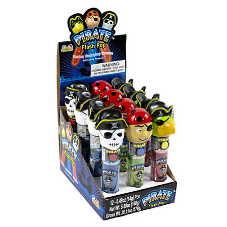 Kidsmania Pirate Flash Pops, Assorted Flavors, Box Of 12