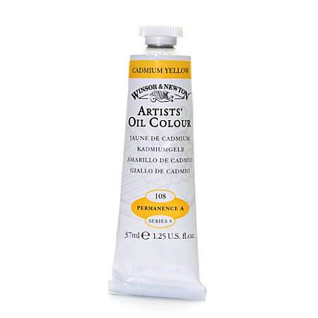 Winsor & Newton Artists' Oil Colors, 37 mL, Cadmium Yellow, 108