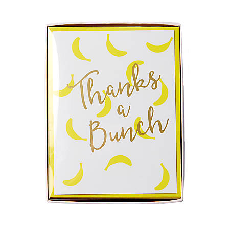 """Sincerely A Collection by C.R. Gibson® Side-Fold Boxed Notes, 3 3/4"""" x 5"""", Thanks A Bunch, Pack Of 10"""