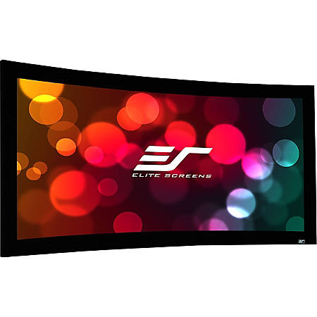 """Elite Screens Lunette Series - 135-inch Diagonal 16:9, Sound Transparent Perforated Weave Curved Home Theater Fixed Frame Projector Screen, Curve135H-A1080P3"""""""
