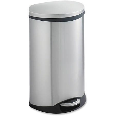 "Safco Ellipse Step On Can Waste Receptacle - 12.50 gal Capacity - Elliptical - 17.5"" Height x 26.5"" Width x 14"" Depth - Steel - Stainless Steel"