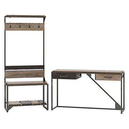 Bush Furniture Refinery Entryway Storage Set With Shoe Bench, Hall Tree And Console Table, Rustic Gray/Charred Wood, Standard Delivery