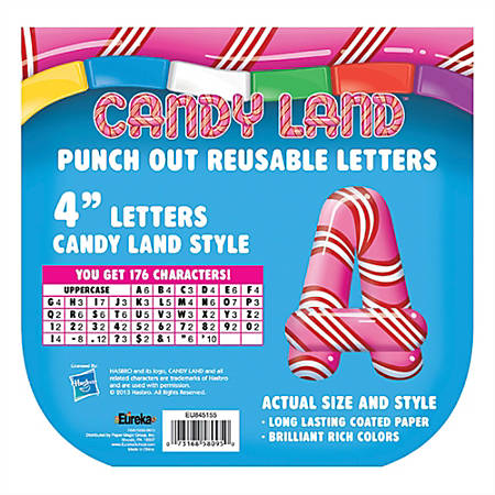 """Eureka Reusable Punch-Out Deco Letters, 4"""", Candy Land™ Pepper Stripes, Multicolor, Pre-K - Grade 2, Pack Of 176"""