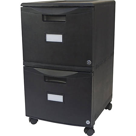 "Storex Heavy-Duty Plastic Legal/Letter File Cabinet, 2 Drawers, 14.8"" x 18.3"" x 26"", Black"