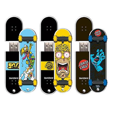 Santa Cruz SkateDrive USB 2.0 Flash Drive, 16GB, Bart S/Homer/SH12, Pack Of 3