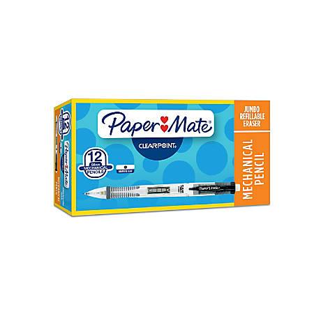Paper Mate® ClearPoint™ Mechanical Pencils, 0.5mm, #2 Medium Soft Lead, Black Barrel, Pack Of 12