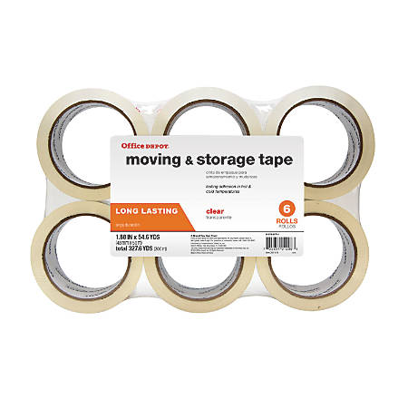 "Office Depot® Brand Low-Noise Moving & Storage Tape, 1.89"" x 54.6 Yd., Clear, Pack Of 6"