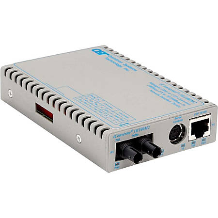 Omnitron Systems 10/100BASE-TX UTP to 100BASE-FX Media Converter and Network Interface Device - 1 x Network (RJ-45) - 1 x ST Ports - 10/100Base-TX, 100Base-FX - Desktop, Wall Mountable, Rail-mountable