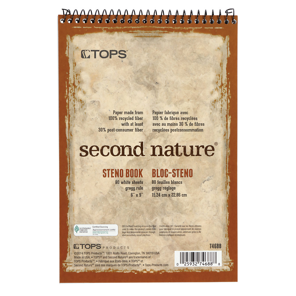 """TOPS� Second Nature� Steno Books, 6"""" x 9"""", Gregg Ruled, 80 Sheets, 30% Recycled, White, Pack Of 12"""
