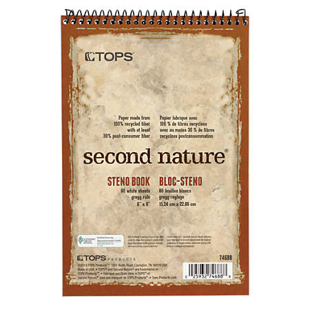 "TOPS™ Second Nature® Steno Books, 6"" x 9"", Gregg Ruled, 80 Sheets, 30% Recycled, White, Pack Of 12"