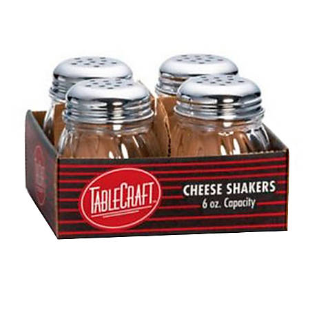 Tablecraft Glass Cheese Shakers, 6 Oz, Clear, Pack Of 4 Shakers