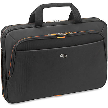 "Solo® Ace Slim Briefcase For 15.6"" Laptops, Black/Orange"