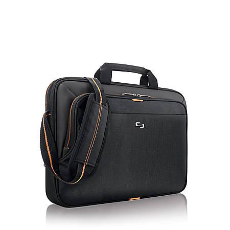 "Solo® Ace Slim Briefcase For 15.6"" Laptops, Black/Orange"