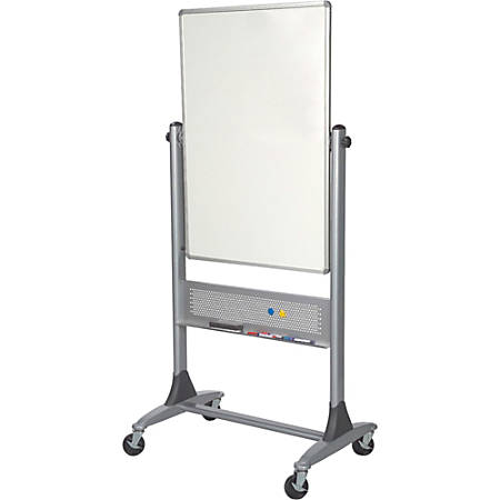 "Best-Rite® Magnetic Reversible Dry-Erase Board, Porcelain, 40"" x 30"", White, Silver Frame"