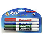 EXPO® Low-Odor Dry-Erase Markers, Fine Point, Assorted Colors, Pack Of 4
