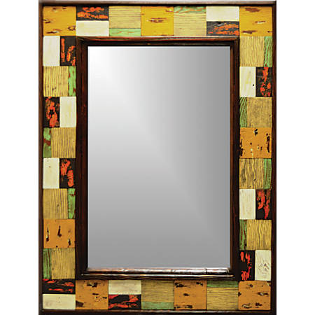 "PTM Images Framed Mirror, Brickwork Wood, 42 1/2""H x 30 1/2""W, Multicolor"