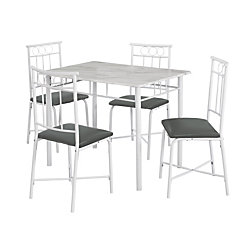 Monarch Specialties Marble Look 5 Piece Dining Set White Gray