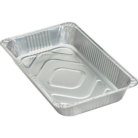Genuine Joe Full-size Disposable Aluminum Pan - 8.8 quart Pan - Aluminum - Cooking, Serving - Disposable - Silver - 50 Piece(s) / Carton