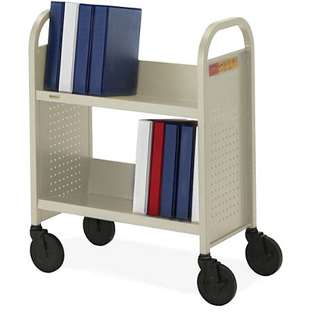 """Bretford Basics Voyager Single-Sided Book Truck - 2 Shelf - 4 Casters - 5"""" Caster Size - Steel - 26"""" Width x 14"""" Depth x 33"""" Height - Putty"""
