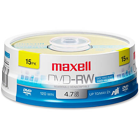 Maxell® DVD-RW Rewritable Media Discs, 4.7GB/120-Minute, Pack Of 15