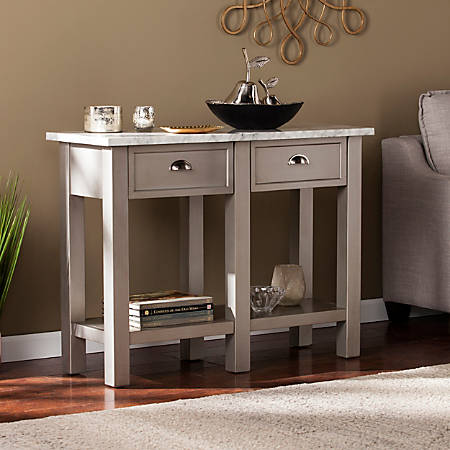 Southern Enterprises Youngston Faux Marble Console Table, Rectangular, White/Gray/Brushed Nickel