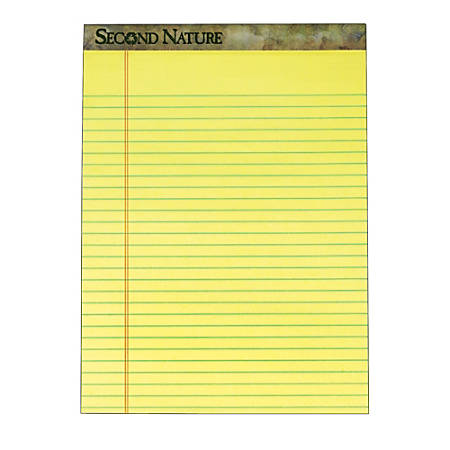 "TOPS™ Second Nature® 100% Recycled Writing Pads, 8 1/2"" x 11 3/4"", Legal Ruled, 50 Sheets, Canary, Pack Of 12 Pads"