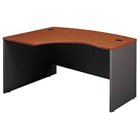 "Bush Business Furniture Components L Bow Desk Left Handed, 60""W x 43""D, Auburn Maple/Graphite Gray, Premium Installation"