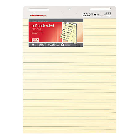 "Office Depot® Brand Bleed Resistant Self-Stick Easel Pads, 25"" x 30"", 40 Sheets, 30% Recycled, Yellow, Pack Of 2"