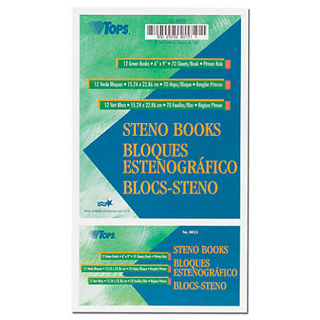 """TOPS™ Steno Books, 6"""" x 9"""", Pitman Ruled, 80 Sheets, Green, Pack Of 12"""